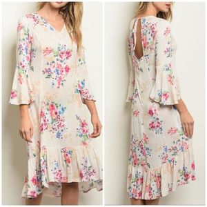 Dresses & Skirts - CREAM FLORAL DRESS